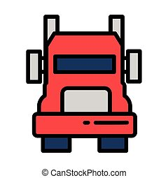 cargo transport truck on white background