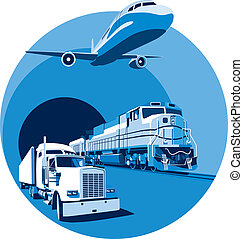 Vectorial round vignette on theme of cargo transportation with three basic types of transports, executed in the limited palette. No gradients and blends.