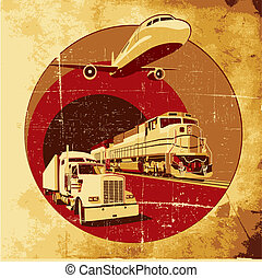 Cargo transportation grunge - Vectorial round vignette on...