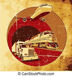Cargo transportation grunge - Vectorial round vignette on ...