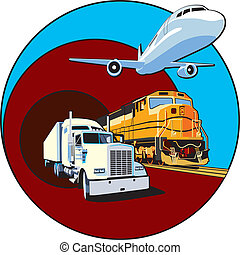 cargo transportation II - Vectorial round vignette on theme...