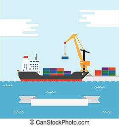 Cargo transportation ship - Vector concept of river ocean ...
