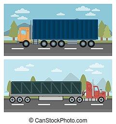 Cargo Transportation. Truck and Trailer. Delivery Trucks. Logistics Transportation. Mode of Transportation. Cargo Truck. Vector illustration. Flat style