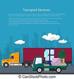 Cargo Truck and Lorry with Furniture, Poster