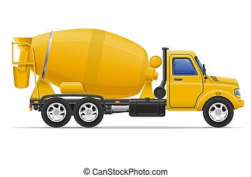 cargo truck concrete mixer illustration isolated on white ...