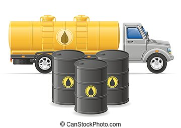 cargo truck delivery and transportation of fuel for transport concept vector illustration