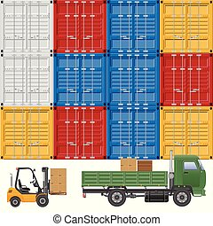 Cargo truck delivery vector illustration.