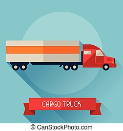 Cargo truck icon on background in flat design style