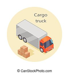 Cargo Truck Icon, Paper Boxes. Delivery Vehicle