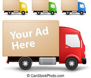 Cargo truck illustration - Side view of a small cargo trucks...
