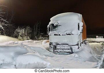 Cargo Truck In Snow