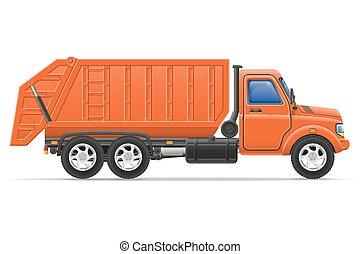 cargo truck remove garbage vector illustration