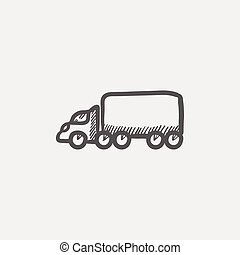 Cargo truck sketch icon