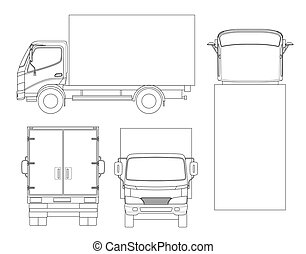 Cargo Truck transportation on outline. Fast delivery or logistic transport. Easy color change. Template vector isolated on white View front, rear, side, top.