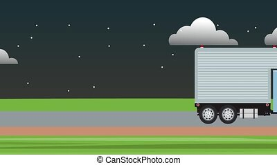 Cargo truck traveling HD animation - Cargo truck traveling...
