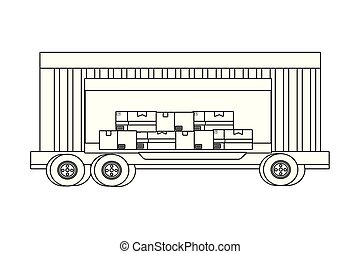 cargo truck vehicle container cartoon