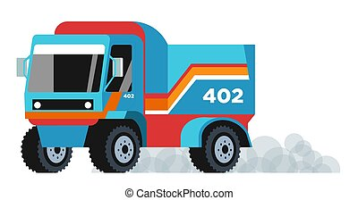 Cargo land tracking and truck vehicle driving, smoke coming out. Logistics, loading transportation. Flat vector illustration on white background.