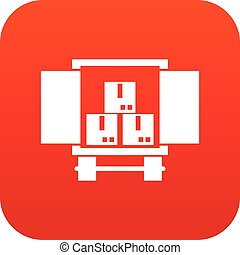 Cargo truck with load icon digital red