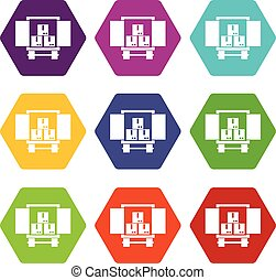 Cargo truck with load icon set color hexahedron