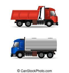 Cargo trucks isolated on white, stock vector graphic...