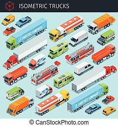 Isometric cargo trucks with front and rear views. transport vehicle icons set. 3d vector transport icon. Highly detailed vector illustration