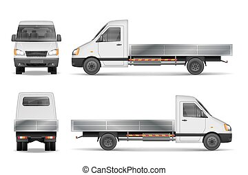 Cargo van vector illustration isolated on white. City commercial lorry. delivery vehicle mockup from side, front and rear view. Vector illustration EPS 10