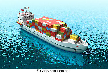 Cargo vessel . 3D illustration of cargo ship in the sea . My own ship design.