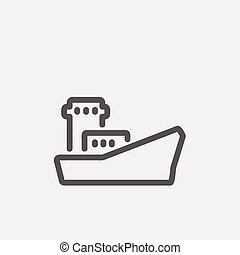 Cargo vessel thin line icon