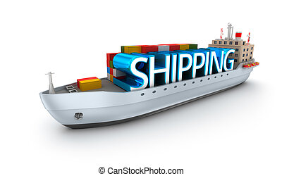 Cargo vessel with shipping word. 3D conept over white