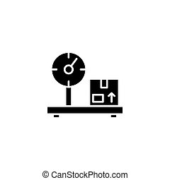 Cargo weighing black icon concept. Cargo weighing flat vector symbol, sign, illustration.