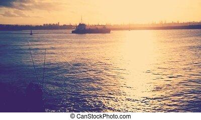 Cargoship crossing on water