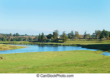 Carham church and village on river Tweed in Northumberland