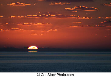 A wonderful shot of sunset from just off of Little San Salvador Island in the Bahamas.