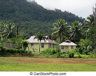 Cottages in a Carib village in Dominica