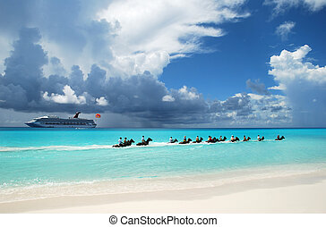 Caribbean Attraction - The group of tourists riding horses...
