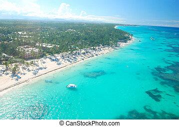 Caribbean beach aerial view