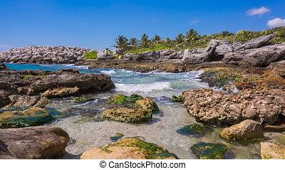 Caribbean beach in Mexico - Tropical beach in caribbean sea,...