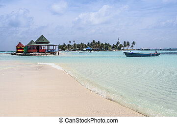 Caribbean Beach Oasis at San Andres island. Colombia, South...