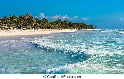 Caribbean beach panorama, Tulum, Mexico