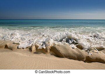 Caribbean beach shore with rocky unusual  coastline