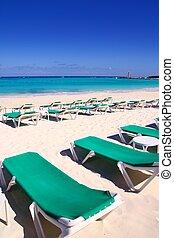 Caribbean beach turquoise sea green hammocks