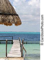 Boat dock on Mexico's Caribbean coast