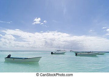 Caribbean boats. Nice day on carribean sea