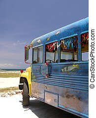 Caribbean Bus - A colorful bus parking on the beach...