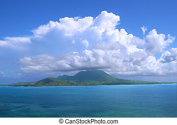 Caribbean island of Nevis - View of the Caribbean island ...