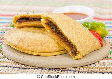 Caribbean Jerk Beef Patty - Jamaican spicy minced jerk beef...