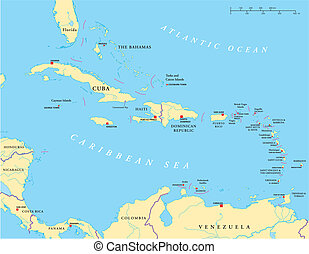 Political map of the Caribbean - Large and Lesser Antilles - with their capitals, national borders, rivers and lakes. Vector illustration with english labeling and scale.