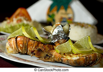caribbean lobster tail with rice vegetables potato baked