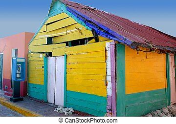 Caribbean Mexican grunge colorful house