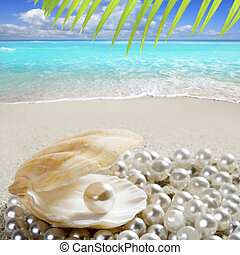 Caribbean pearl inside clam shell over white sand beach in a tropical turquoise sea